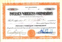Poulsen Wireless Corporation - San Francisco, California 1918