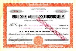 Poulsen Wireless Corporation (signed by Geo. A. Pope )  - San Francisco, California 1918