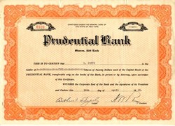 Prudential Bank  (Became JPMorgan Chase Bank) - New York 1929
