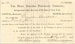 Prall Electro Pneumatic Company - New York 1876