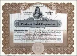President Hotel Corporation 1927
