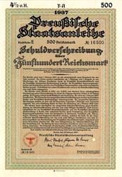 German Nazi Reichsmark War Bond - 1937