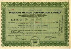 Precious Metals Corporation, Limited - Canada 1928
