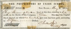 Proprietors of Union School - 1843 New Haven, Connecticut - Issued to Roger Sherman