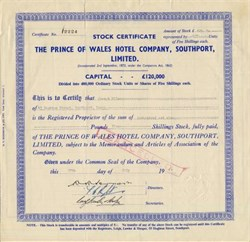 Prince of Wales Hotel Company, Southport, Limited - England 1962