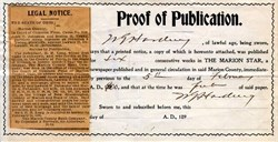 Proof of Publication signed by U.S. President Warren G. Harding - 1900