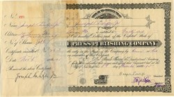 Press Publishing Company signed by Joseph Pulitzer Jr (2 times)  Pulitzer Prize Namesake - St. Louis, Missouri 1915