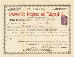 Proctorsville Telephone and Telegraph Company - Vermont 1901