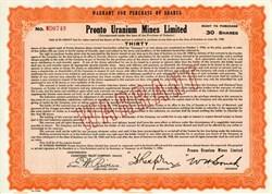 Pronto Uranium Mines, Limited Warrant Certificate - Ontario, Canada - 1954