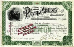 Pratt & Whitney Company issued Stock Certificate signed by Francis Ashbury Pratt - Connecticut 1896