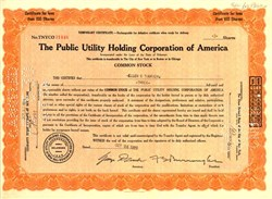 Public Utility Holding Corporation of America dated October 24, 1929 - First Day of Market Crash (Black Thursday)