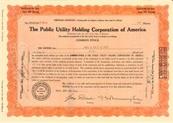 Public Utility Holding Corporation of America issued in year of Stock Market Crash - 1929