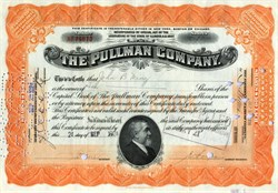 Pullman Company Stock Certificate - Famous sleeper train car manufacturer 1924