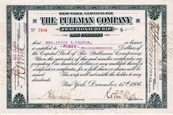 Pullman Company Fractional Scrip. (Signed by Robert Todd Lincoln , Abraham Lincoln's Son)  - New York 1906