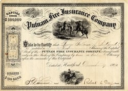 Putnam Fire Insurance Company (was destroyed by the great Chicago fire)- Connecticut 1867