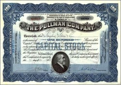 Pullman Company  Stock Certificate 1929 - Famous sleeper train car manufacturer