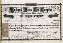 Pullman's Palace Car Company signed by George Pullman as President - 1870