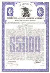 Puerto Rico Aqueduct $5000 Bond - Puerto Rico 1963