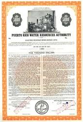 Puerto Rico Water Resource Authority $5,000 Specimen Bond - 1974