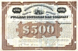 Pullman Southern Car Company signed twice by George Pullman (Pullman Palace Car Company)  - 1876