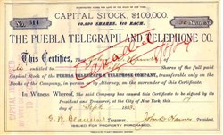 Puebla Telegraph and Telephone Company - New York 1883