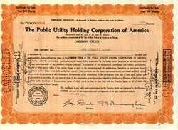 Public Utility Holding Corporation of America dated October 23, 1929 (Bad Timer's Certificate)  - Issued Day before First Day of Market Crash (Black Thursday)