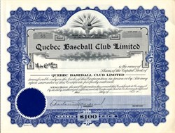 Quebec Baseball Club Limited (Quebec Bulldogs ) - Ontario, Canada 1923