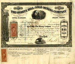 Quartz Hill Gold Mining Company - Gilpin County, Nevada District, Colorado Territory 1867