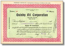 Quinby Oil Corporation 1927
