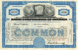 Radio Corporation of America with David Sarnoff as President- Delaware 1933