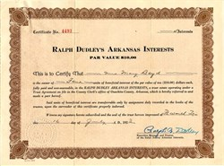 Ralph Dudley's Arkansas Interests - Arkansas 1923