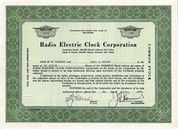 Radio Electric Clock Corporation - Delaware 1929