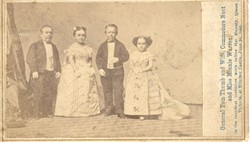 P.T. Barnum's Rare Tom Thumb CDV signed Photo with Wife, Commodore Nutt and Minnie Warren
