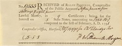 Receipt of Lawful Money from Ralph Pomeroy  - Connecticut 1791