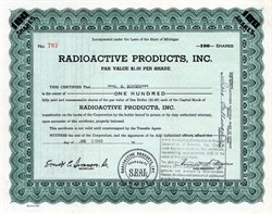 Radioactive Products, Inc. (Hoping to capitalize on the  work of the Manhattan Project)  - Michigan 1949