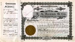R. A. Rowan & Co. - Famous L.A. Real Estate Developer - Los Angeles, California 1905