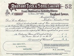 Raphael Tuck and Sons, Limited (Famous Postcard Company) - London, U.K. 1931