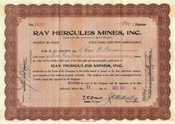 Ray Hercules Mines, Inc. 1922