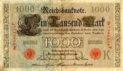 Old Paper Money Reichsbantnote 1000 - German 1910