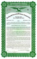 Realty and Security Refinance Corporation 1933 - Gold Debenture Bond