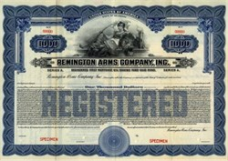 Remington Arms Company, Inc. RARE $1000 Gold Bond - Delaware 1922