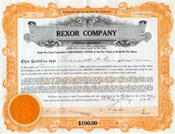 Rexor Company (Issued to and signed by Murder Victim, Elisabeth Mannering Congdon ) - 1924