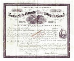 Rensselaer County Civil War Coupon Bond - New York 1879