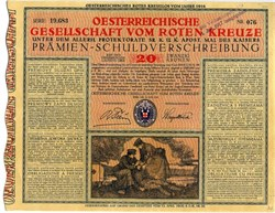 WWI Red Cross Debt Certificate from Austria Art Deco / Art Nouveau style - 1916