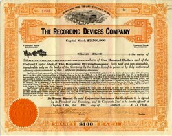 Recording Devices Company ( Early Time Clock Maker) - Ohio 1918