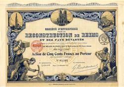 Reconstruction De Reims ( WWI Reconstruction) - Paris 1919