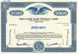 Realtone Electronics Corp. - New York  ( Early Transistor Radio company )