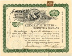 Regenerative Electric Locomotion Company (Early Automobile Battery Company)  - New Jersey 1901