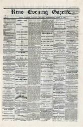 Reno Evening Gazette Newspaper -  Reno, Nevada 1878