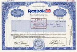 Reebok International Ltd. (3 specimen certificates) - Massachusetts